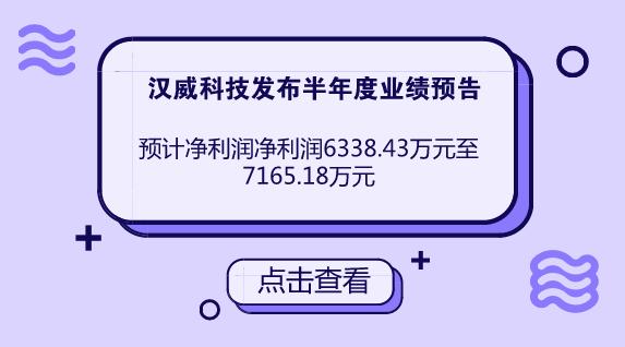 汉威科技预计半年度净利润同比增长15%至30%